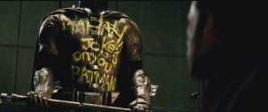 Joker defaces Batsuit