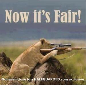 Lion with gun