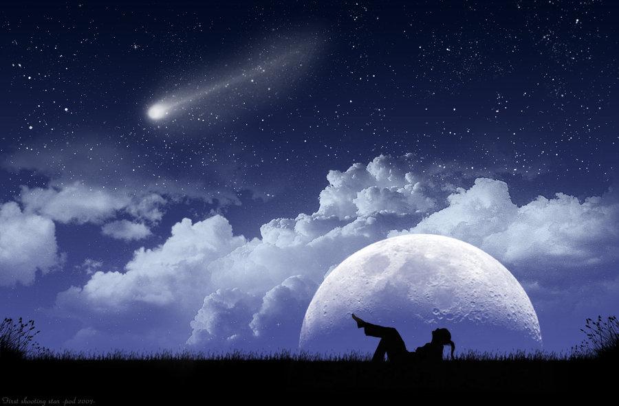 Real Stars And Moon At Night