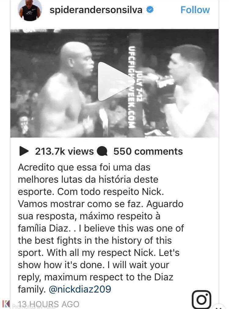 Anderson Silva challenges nick Diaz