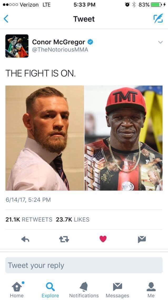 Conor vs Floyd confirmation tweet