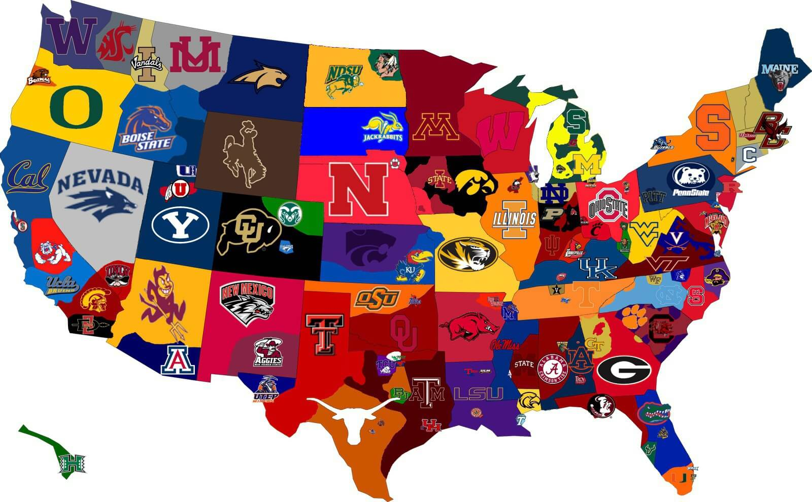 NCAA FOOTBALL RANKINGS MAP