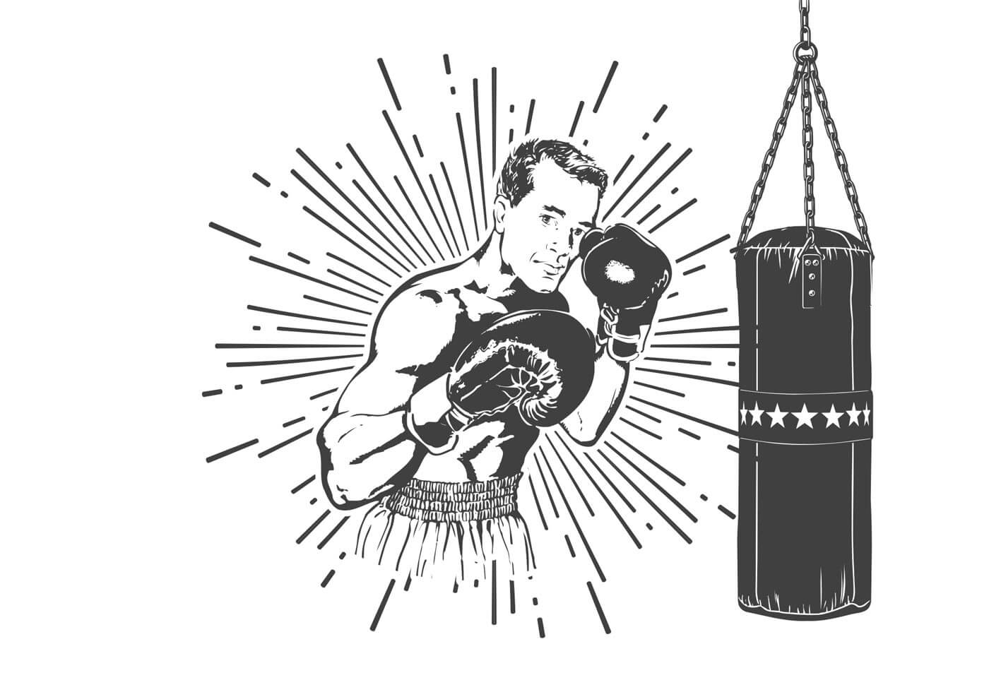free-old-time-boxer-vector-illustration