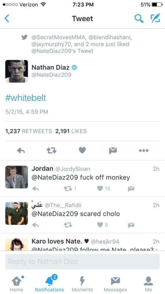 nate diaz tweet