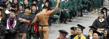 naked graduation student