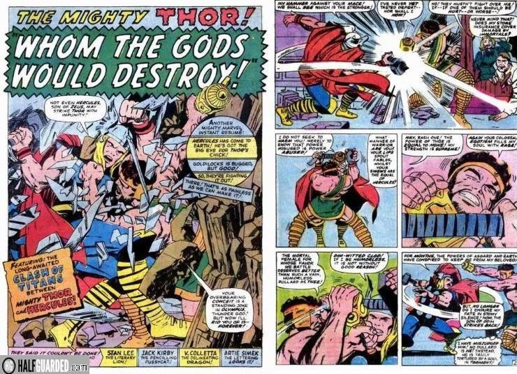 thor vs hercules - best comic book fights